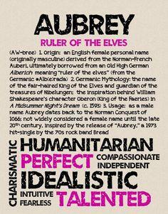 AUBREY Personalized Name Print / Typography Print / by OhBabyNames