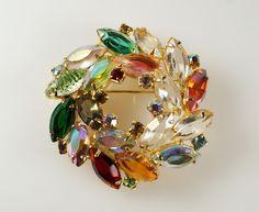 Vtg Juliana Delizza / Elster D&E Aurora Borealis Rhinestone Wreath Pin Brooch #Juliana