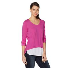 Warrior by Danica Patrick Woven-Hem Top - Wild Orchid/White