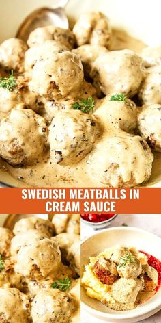 Juicy Swedish meatballs in creamy sauce is the ultimate comfort food recipe the whole family will enjoy! They are so simple to make yet the most satisfying to serve for dinner! Feel free to use soya single cream in the sauce to make it dairy free.