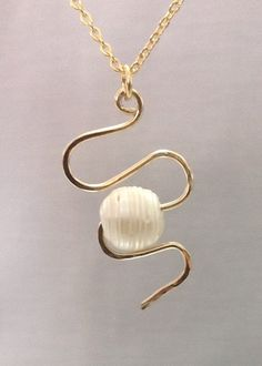 Natural Pearl Pendant made of 14k gold filled by OritWhiteLight