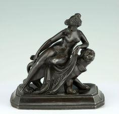 J.H. Dannecker Ariadne & Panther Skulptur Figur Zinkguss 1890 Skulpture Statue