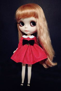 1 : 6 Scale Blythe Vintage Polka Dot Red Dress With Bow on front| Blythe Outfit | Doll Apparel | Doll Fashion | Doll Dress
