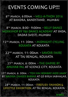 We are back with our Pan India Event Listing!!  #drama #food #dance #exhibition #shop #eat #drink #party #workout #comedy #fitness #blabbercatspecial #kolkata #mumbai #panindia #event #listing #meow
