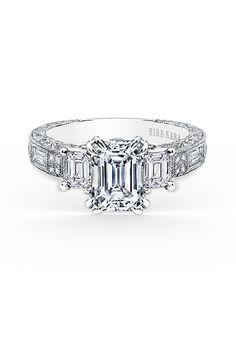 Kirk Kara. Style K1384D, Charlotte Collection emerald-cut three-stone engagement ring, price upon request, Kirk Kara