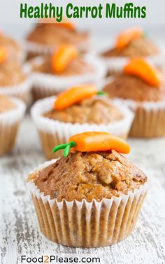 Healthy Carrot Muffins - try with apple sauce to replace the oil, use whole wheat flour. It uses 3 cups carrots and 4 eggs Healthy Carrot Muffins, Yummy Food, Tasty, Healthy Baking, Healthy Recipes, I Love Food, Baking Recipes, Cupcake Cakes, Sweet Treats