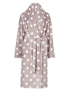 Shawl Collar Spotted Dressing Gown | M&S