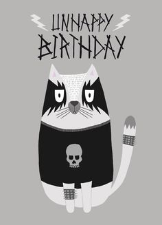 Black Metal Cat Birthday Card by CaroleCStationery on Etsy