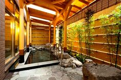 Onsen (温泉) is a Japanese hot springs. Onsen come in many types and shapes, including outdoor named Rotenburo (露天風呂).
