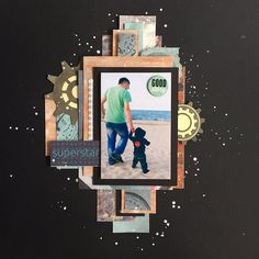 Scrapbooking layout, Father and son walking by the sea. Goscrap, scrap,