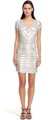 Adrianna Papell   Short Beaded Geometric Patterned Dress