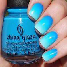 Blue Ombre Nails