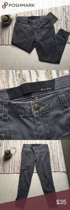 Joe's Charcoal Motorcycle Jeans 29/30 inch waist, 35 inches in length, 25 inch inseam. 6.5 inch brushed gold zippers on outside pant leg. Intentionally distressed along seams. Excellent condition. Joe's Jeans Jeans Skinny
