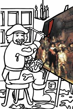 coloring page Rembrandt van Rijn on Kids-n-Fun. At Kids-n-Fun you will always find the nicest coloring pages first! Cool Coloring Pages, Adult Coloring Pages, Dutch Artists, Famous Artists, Paint Brush Art, Classroom Art Projects, Trending Art, Art Lessons Elementary, Teaching Art