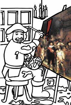 Kids-n-fun | Kleurplaat Rembrandt Rembrandt schlidert Nachtwacht
