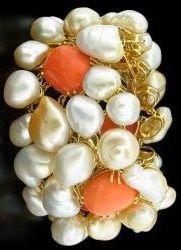 Margot McKinney Coral and Keshi Pearls Bracelet