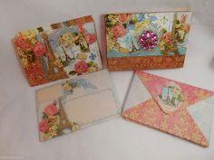 PUNCH STUDIO Jeweled Eiffel Tower~Paris~Shabby Rose Set/10 Note Cards w/Envelope