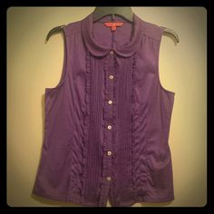 Ivanka Trump Top WORN TWICE! Gorgeous dark purple top! Top is meant to be fitted; bottom of shirt sits at top of hips. Would look fantastic layered with a cardigan, skinny jeans and flats! Please feel free to ask any additional questions before purchasing. Ivanka Trump Tops