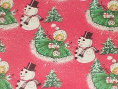 VTG CHRISTMAS WRAPPING PAPER GIFT WRAP MCM 1940s WW2 ERA SNOWMAN PINK GIRL TREE