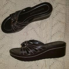 "Sandals Dark brown slide sandals 2"" wedge heel. Like new! Apostrophe Shoes Sandals"