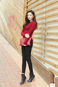 Red sweater paired with black jeans and matching ankle boots. Find Your Match, Red Blazer, Cardigan Outfits, Stylenanda, Red Sweaters, Black Jeans, Ankle Boots, Street Style, Style Inspiration