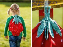 Ida geht ab sofort mit ihrem neuen Erdbeerbeutel in den Kindergarten. Da passt alles Nötige rein und er lässt sich über zwei Baumwollkordeln ganz leicht öffnen, schließen und tragen.