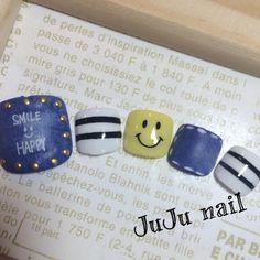 smile☺︎フットネイル❤︎ . . #nail#nailart#jelnail#footnail#jujunail#jujustyle#kyoto#denimnail#smile#boarder#ネイル#ネイルネイル#ジェルネイル#京都#伏見#フットネイル#スマイルネイル#デニムネイル#ボーダー#美甲