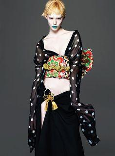 East of Eden -  Haider Ackermann polyester top. Kimono De Go by Mamiko kimono (worn as skirt) and obi.