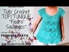 TUTO CROCHET TOP/TUNIQUE ''FLEURS SAUVAGES'' PREMIERE PARTIE - YouTube Short Sleeve Dresses, Dresses With Sleeves, Knit Crochet, Crochet Patterns, Knitting, Lace, Tops, Women, Videos