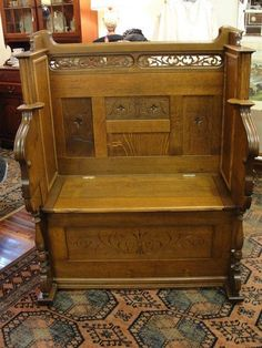 Quarter Sawn Oak Bench with Lift Top Storage (old pump organ converted into a bench)