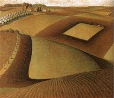 Happy birthday to Grant Wood Here you see a great example of Wood's interest in, and importance to, the Regionalism art movement. What other painting garnered Wood success as a cultural. Grant Wood Paintings, Paintings I Love, Iowa, Artist Grants, Painted Picture Frames, Oil Painting Pictures, American Gothic, Vintage Artwork, Wood Artwork