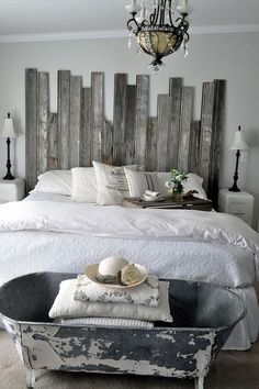 Reclaimed Wooden Headboard I love the steely color pallet... If I ever have a beach house, this will be in the master.