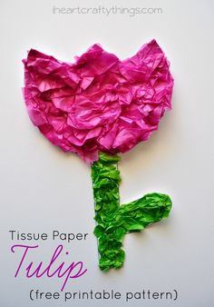 Tissue Paper Tulip Craft for Kids for Spring with free printable pattern from iheartcraftythings.com.