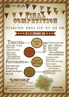 "Scarfs FINAL COMPETITION ""Selamatkan Remaja Dari HIV dan AiDS"" 20 – 21 Desember 2013  http://eventsurabaya.net/scarfs-final-competition-selamatkan-remaja-dari-hiv-dan-aids/"
