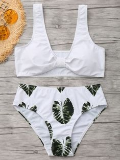 SHARE & Get it FREE | Palm Leaf Print Bowknot Shaped Bikini - White MFor Fashion Lovers only:80,000+ Items • New Arrivals Daily Join Zaful: Get YOUR $50 NOW!