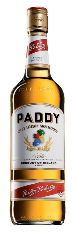 Paddy Irish Whiskey: Paddy Whiskey is distilled three times from the finest quality barley and water. Paddy's distillers say this ensures a whiskey that is particularly light, well- balanced and pure.