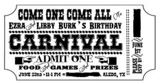 free customizable carnival invitation printable freebie.  Here's a mock up of the invite that can be printed on any color card stock.  Go to my blog for the customizable version