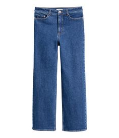 $20 Denim blue. 3/4-length jeans in washed stretch denim with a high waist and straight legs.