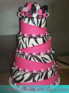 m wants pink and zebra on her cake. is this slanted look too hard Teske Goldsworthy Ramirez? Maybe just two layers not four. Pretty Cakes, Beautiful Cakes, Amazing Cakes, Cupcakes, Cupcake Cakes, Zebra Print Cakes, Zebra Cakes, Giraffe Print, Zebra Wedding