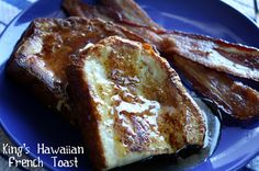 Kings Hawaiian Bread French Toast. I've been making this for years and it's great. I like to cut it into thick chunks and then dust with powdered sugar instead of syrup. Sliced in regular French toast slices, I like to top with fruit syrups, especially homemade orange sauce (made with orange juice and cornstarch).