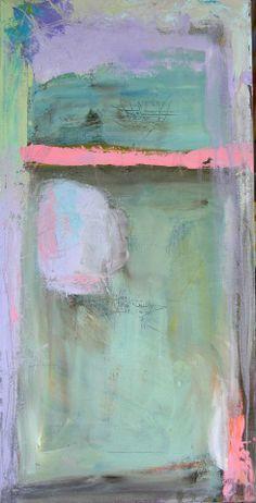 Abstract Painting Pastels aqua, blue, lavender, pink -original fine art-affordable art 12 x 24