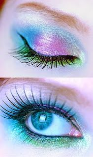 blue & pink butterfly eye makeup idea