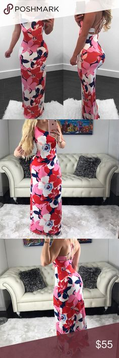 PRETTY MAXI • Floral print dress • Multi strap design • Attached white lining • Beautiful pink, red, navy, & white colors  • Perfect vacation maxi • 95% Polyester 5% Spandex  Thank you for stopping by    Please take a minute to read the closet's guidelines (it's found at the top of the page) before commenting.    I ship daily   Sorry  no trades  Dresses Maxi