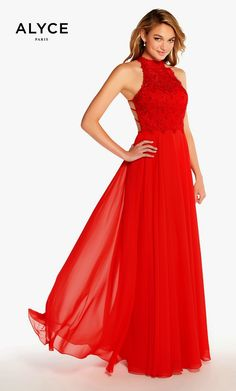 425d359c0e5 Prom Dresses Evening Dresses by ALYCE PARISaay60061Long Aline lace chiffon  dress with a sleeveless halter laced bodice and strappy open racerback.
