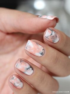 Marbled nails! Pink accent for the spring, but still edgy. #nailart #naildesigns