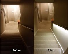 Stair Lighting Solution With LED Strips Basement basement lighting Stairway Lighting, Basement Lighting, Strip Lighting, Stairwell Chandelier, Accent Lighting, Basement Stairway, Basement Steps, Basement Plans, Basement Bathroom