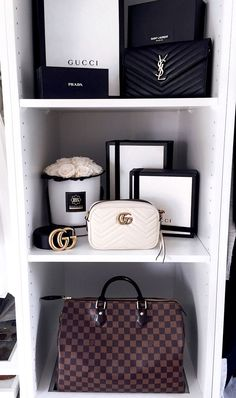 Wardrobe, Closet, Schrank, @my_philocaly Instagram, Pax System, Louis Vuitton Speedy, Louis Vuitton, Gucci Marmont Mini white, Gucci Bag, Gucci Belt, YSL Chain Wallet, Saint Laurent Bag, Blossom Box Roses - Sale! Up to 75% OFF! Shot at Stylizio for women's and men's designer handbags, luxury sunglasses, watches, jewelry, purses, wallets, clothes, underwear & more!