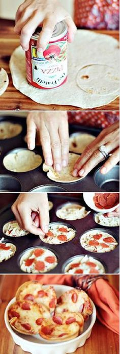 After school snacks Mini Tortilla Crust Pizzas -- super easy to make, can use different ingredients (including low carb tortillas, load up with veggies), great idea! Muffin Tin Recipes, Snack Recipes, Cooking Recipes, Muffin Tins, Easy Cooking, Brunch Recipes, Muffin Tin Meals, Healthy Cooking, Cupcake Pan Recipes