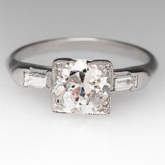 1920's Platinum Old Euro Diamond Ring