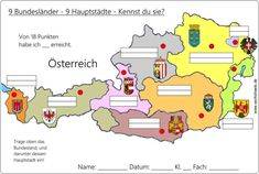 9_Bundesländer-Österreich-Austria-AB Geography Lessons, 4 Kids, Worksheets, Teaching, Gw, Education, School, Cartography, National Day Holiday